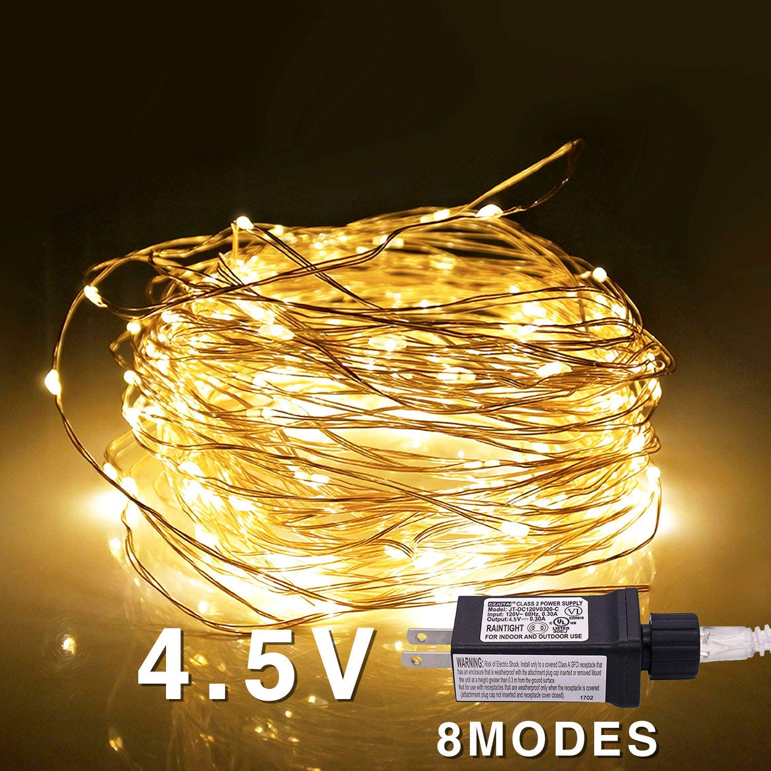 Jiamao 8 Modes 100 LED 32.8ft Plug in 4.5V Transformer Safe Voltage Waterproof Fairy String Copper Wire Lights for Christmas, Bedroom, Patio, Wedding, Party, Warm White (100LED)