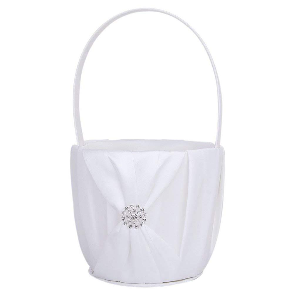 YaptheS White satin flower basket wedding flower basket girl flower basket rhinestone diamond wedding decoration flower basket ceremony festive party love case Household Products