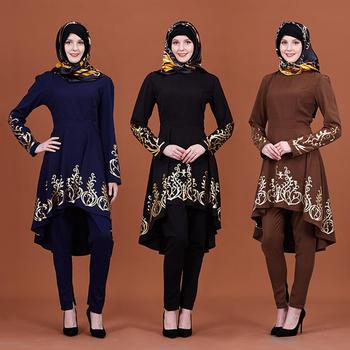 Wholesale Middle East Muslim Women Solid Color Hot Stamping Fashion Tops for Muslim Girls