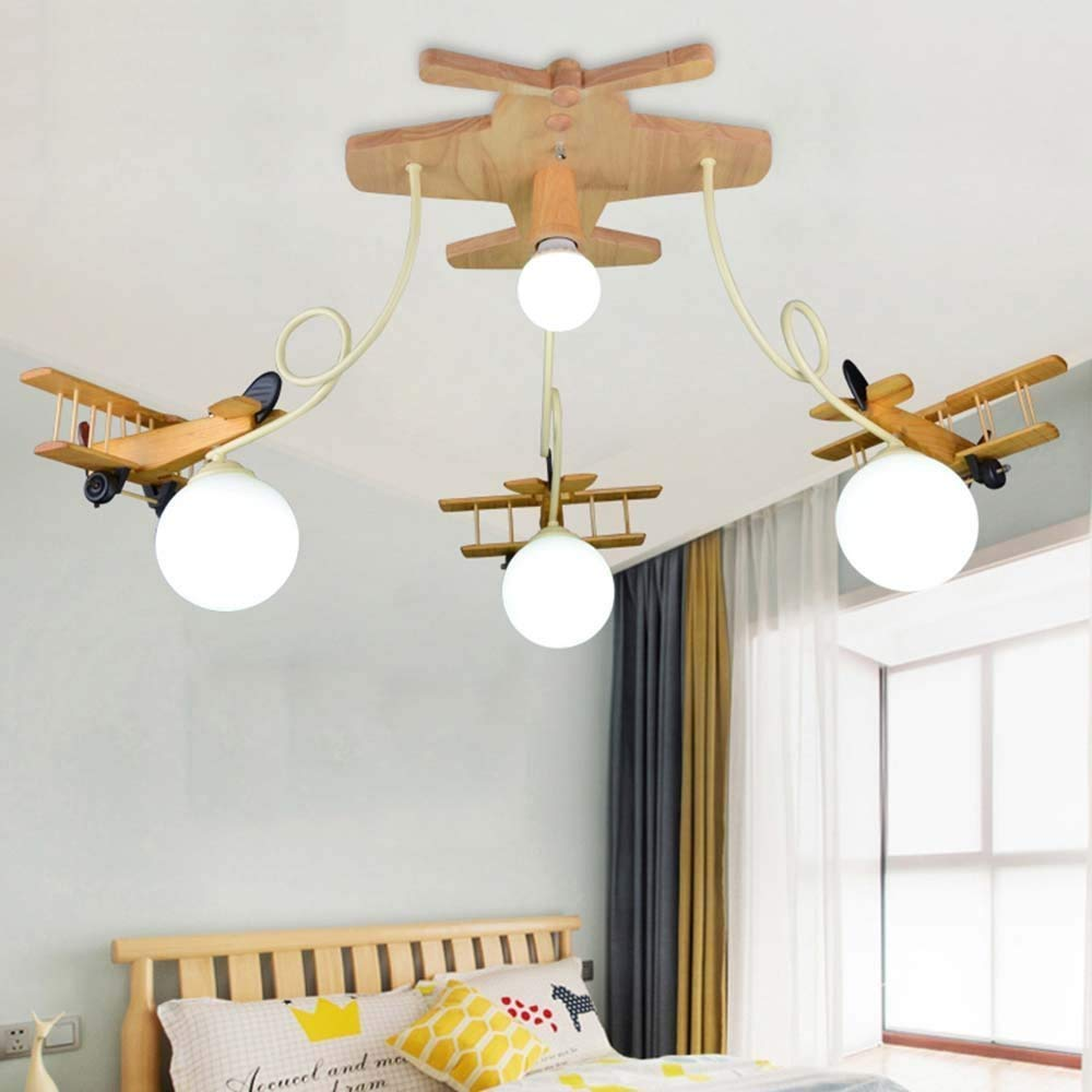 DIDIDD Ceiling light- led solid wood aircraft children room wood art ceiling lights boy bedroom light creative cartoon ceiling lights --home warm ceiling lamp