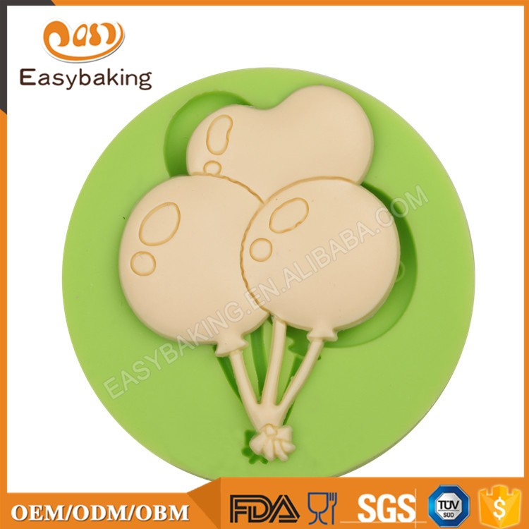 ES-1529 3 Balloons round Silicone Molds for Fondant Cake Decorating