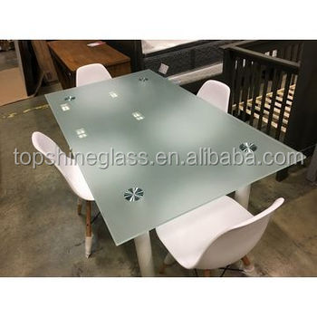 3 19mm Tempered Acid Etched Gl And Silk Screen Printing Table Top