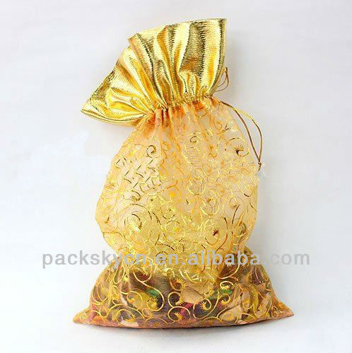 gold organza with top cloth bag round