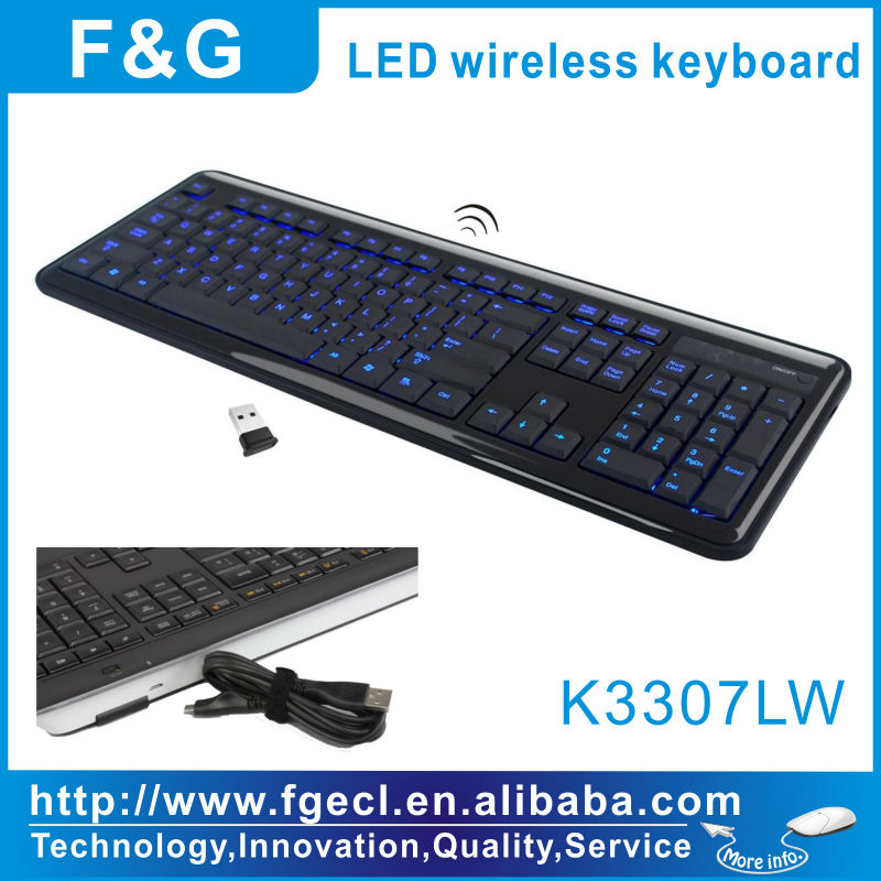 K3307LW 2013 New Backlight Wireless LED keyboard