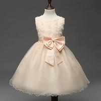 Kids Infant Girls Flower Petals Dress Children Toddler Elegant Dress Pageant Wedding Formal Party Dress