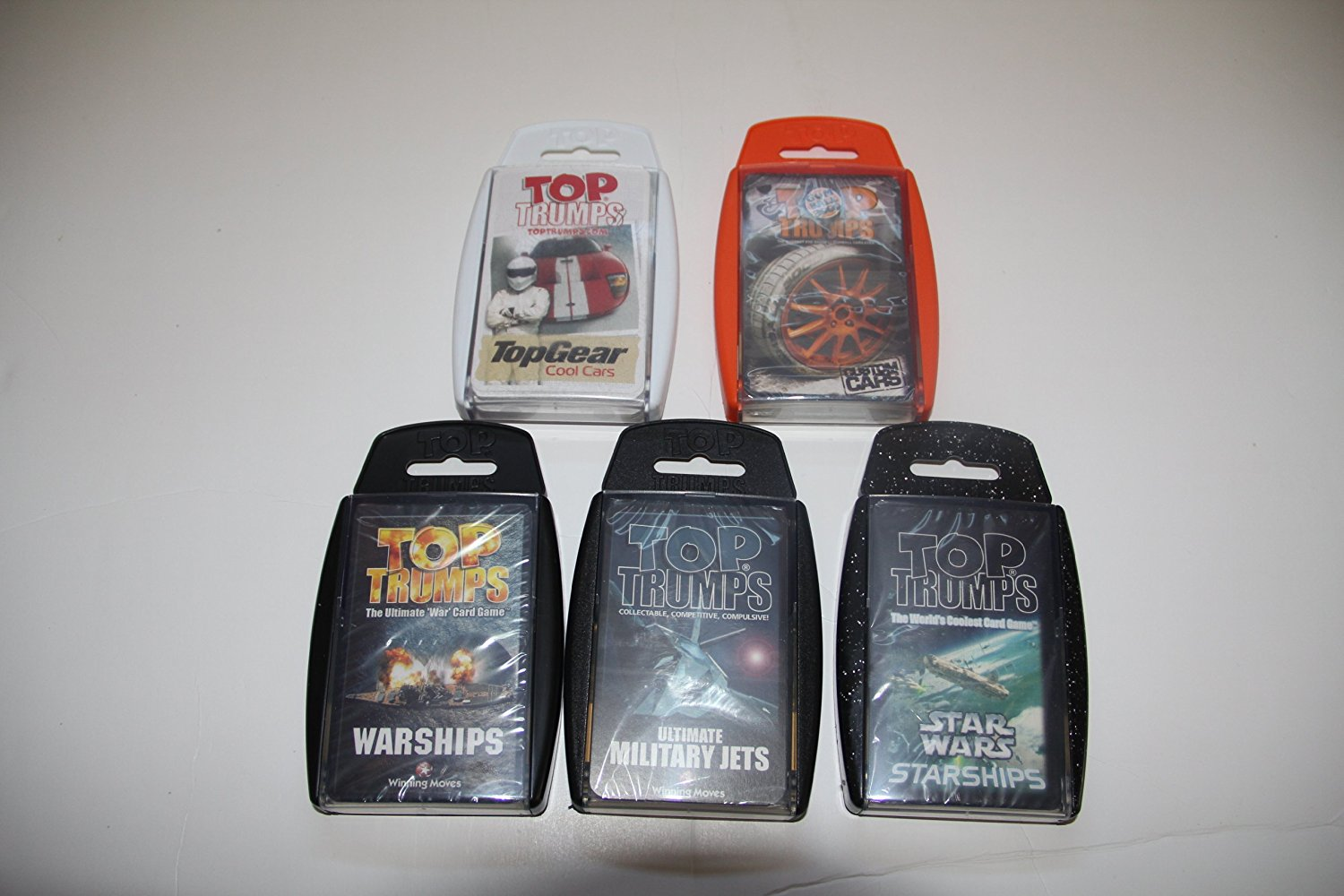 Top Trumps card game - Motor 5 Pack - with Gumball Cars, Cool Cars, Jets, Warships and Star Wars Starships