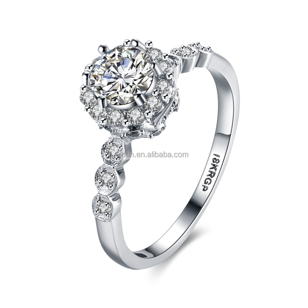 Silver Color Stainless Steel Cluster Austrian Crystal Zirconia Diamond Ring Simulated Round Cut Bridal CZ Ring