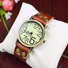 Big watch face antique brass tone alloy case vintage leather watch for men and women