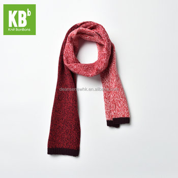 Fashion Custom Made 100% Lambswool Funky Winter Adult Knitted Scarf - Red