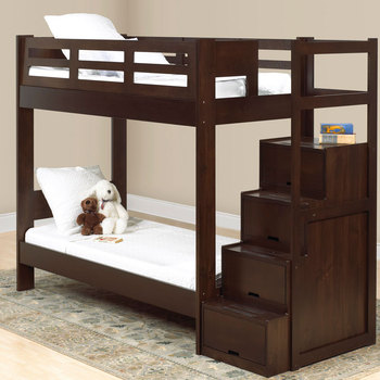Solid Pine Wooden Kids Double Deck Bed Bunk Beds With Storage