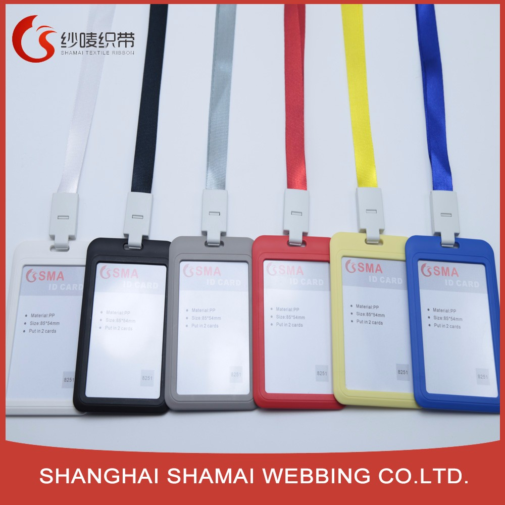 Wholesale free sample customed printed staff work id card lanyard card holder