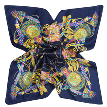 Women's Fashion Rope Printed Twill Silk Wrap Shawl Square Scarf