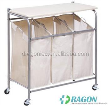 Dw Dc001 Laundry Hamper 3 Washing Basket Bag Sort Ironing Board Trolley Clothes Storage