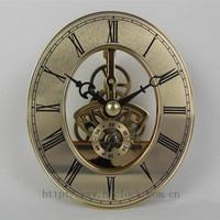 Skeleton clock insert quartz clock movement with oval dial metal clock