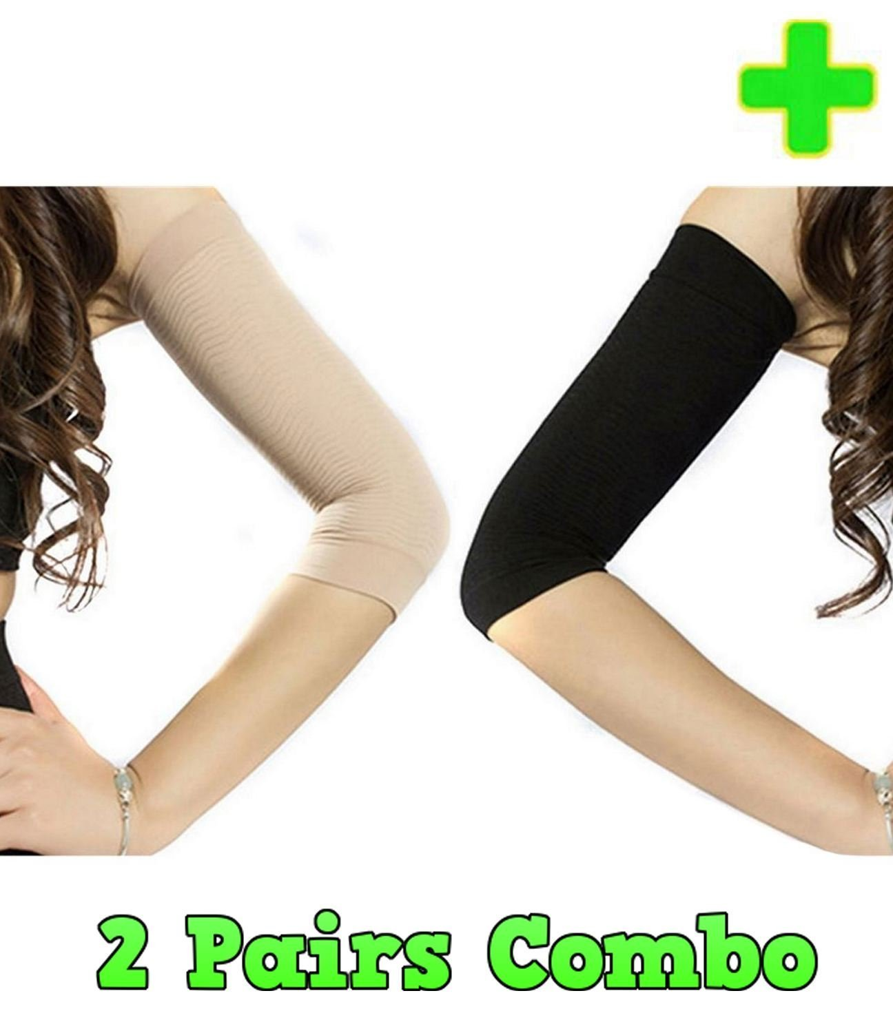 c8366f8a5d Get Quotations · HealthyNees 2 Pairs Combo Slimming Compression Arm Shaper  Helps Tone Shape Upper Arms Sleeve