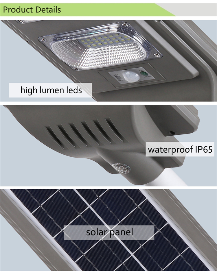 Outdoor Ip65 Solar Power 20w 40w 60w Integrated All In One Led Solar Street Light