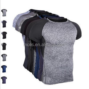 MEN'S Polyester/spandex/lycra half-sleeved quick dry fitness tight training T shirt