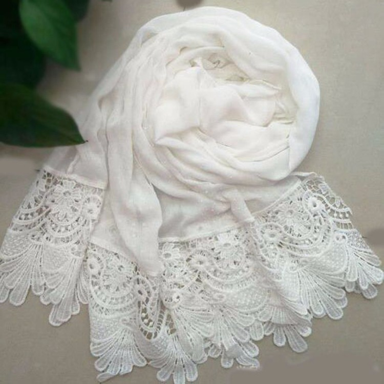 Weiße Perle Spitze Schal Gedruckt Sexy Damen Hijabs Muslimischen ...