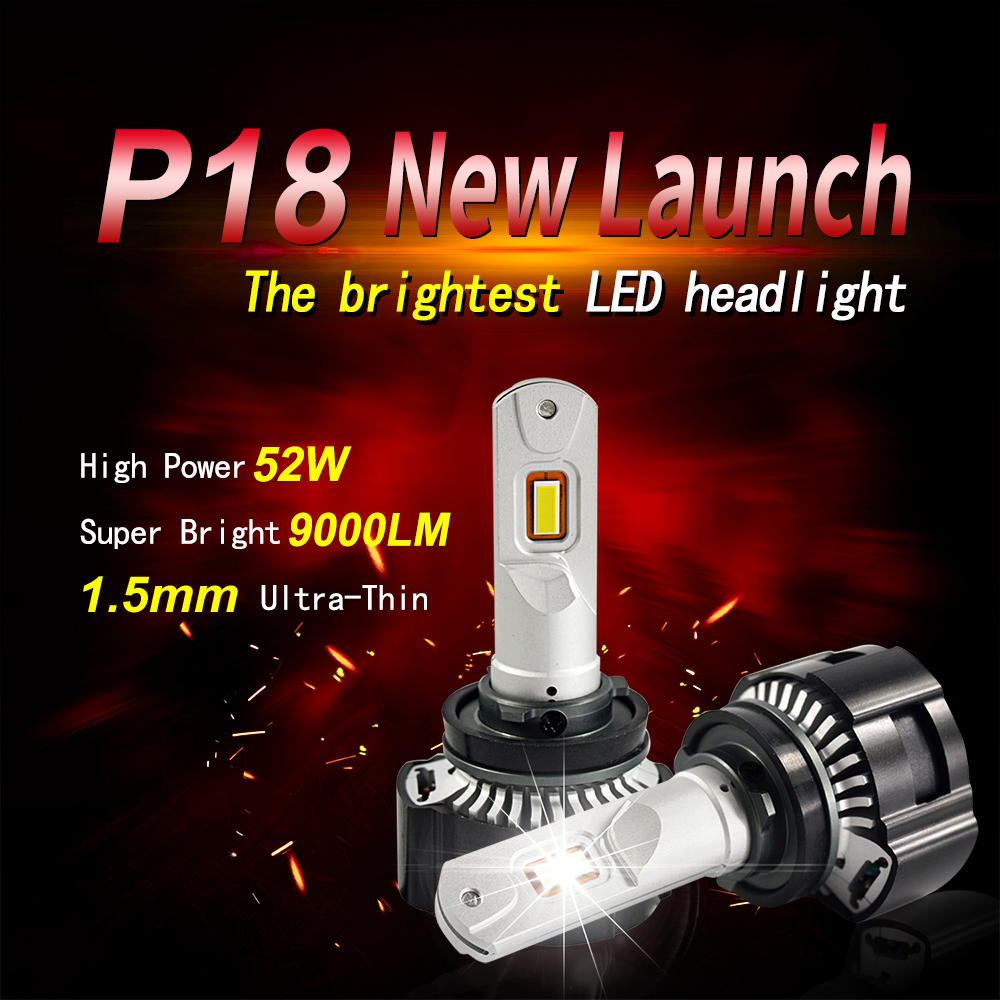 TOP 1 Bright 104W 18000lm P18 led h7 led headlight canbus led h11 led headlight h4