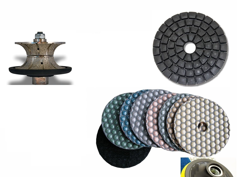 "Full Bullnose V20 (20mm) 3/4"" V30 (30mm) 1 1/4"" Diamond Router Bit Profiler 4 Inch DRY Polishing Pad 11 Pieces Final Glazing Buffing Pad Granite Marble Concrete Terrazzo Stone Travertine"