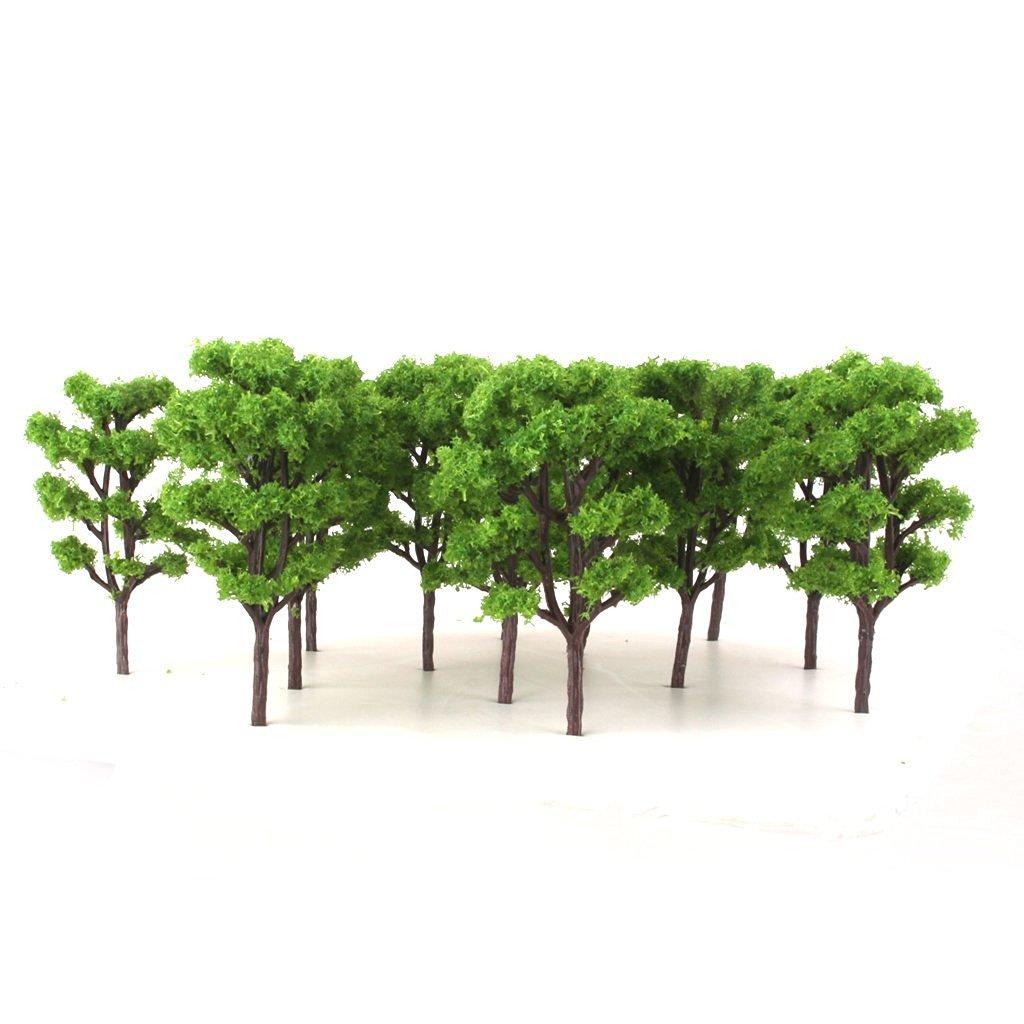 20pcs Layout Model Train Bombax Trees Forest Scale 1/150 8.3CM - Light Green