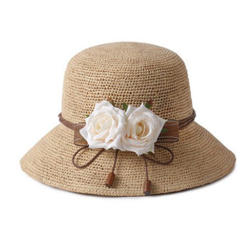 Papel chapéus de palha praia chapéu de sol da moda das mulheres por atacado  com flor 50ed2b4e6d4