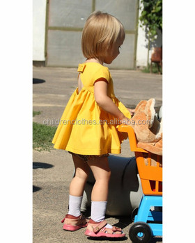 f127b2cd9b Yellow baby dress girl toddler summer clothing vintage style outfits baby  girl open back dress