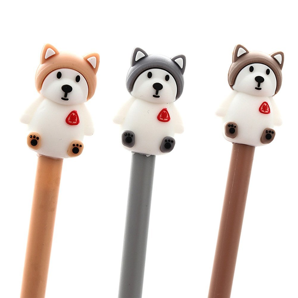 ACTLATI 3Pcs Cartoon Animal Dog Gel Pen School Office 0.5mm Point Black Ink Rollerball Pens Random
