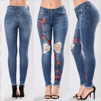 nueva llegada mejor online mejor precio 2018 Señoras Nuevo Estilo Bordado Jeans Rebote Mujeres Lápiz Pantalones  Vaqueros - Buy Vaqueros Bordados,Lápiz,Lápiz Product on Alibaba.com