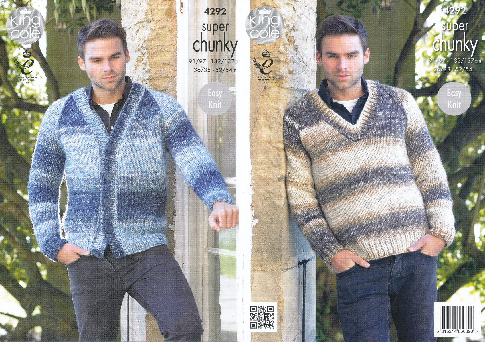 bdc1998d0288f0 King Cole Mens Easy Knit Super Chunky Tints Knitting Pattern V Neck Sweater    Cardigan (4292)