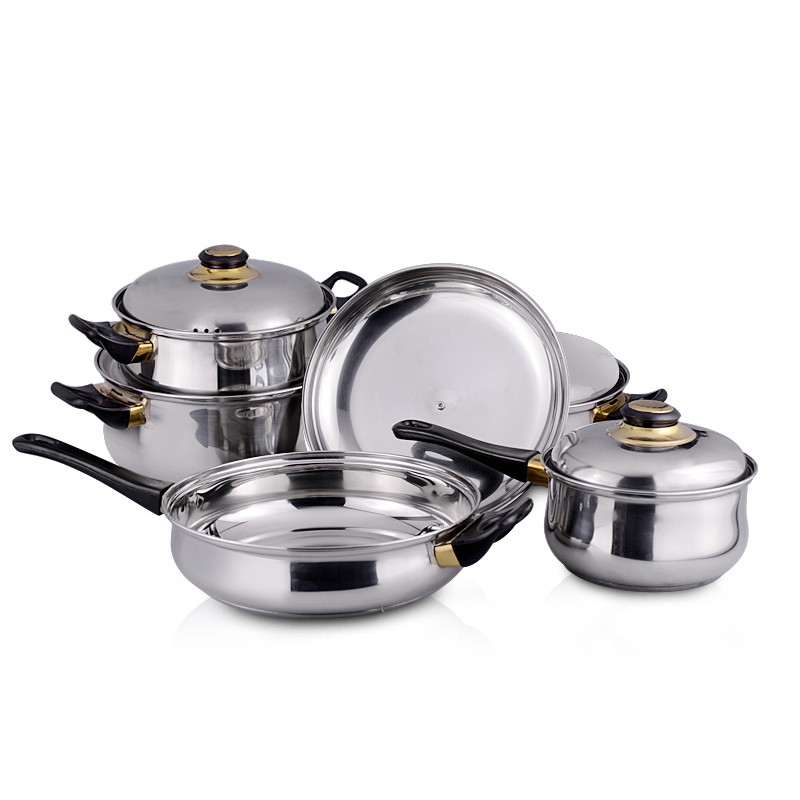 12pcs cookware 0.4mm thickness kitchen pots and pans with steel lid