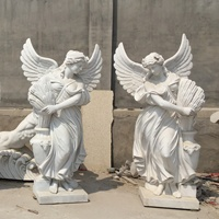 White marble hand carved custom made life size winged angel statue four season garden decor