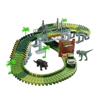 Hot sale Green Simulation Dinosaur World Flexible Track Cars Toy Set 142pcs for kids
