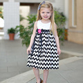 2016 New Arrival summer girl dress striped print black and red baby girl pricess dress children