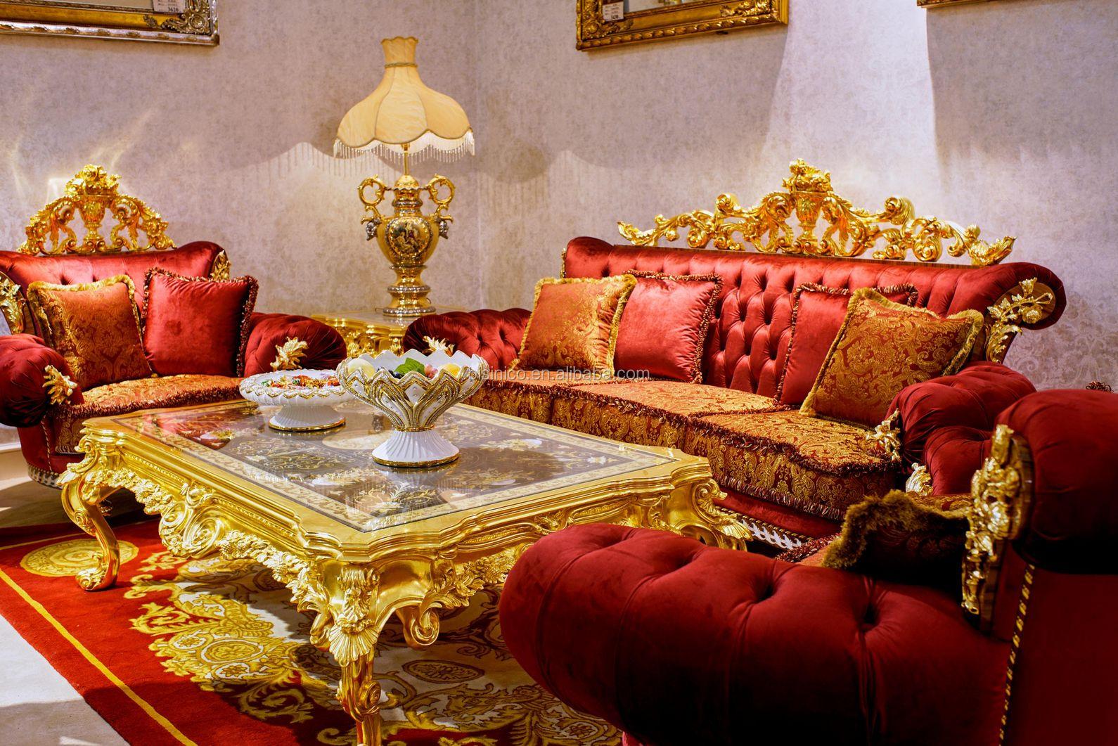 Luxury Antique European Style 24k Gold Button Tufted Red Velvet Sofa Set/  Flower Design Wood Carved Living Room Furniture - Buy Luxury Antique 24k ...