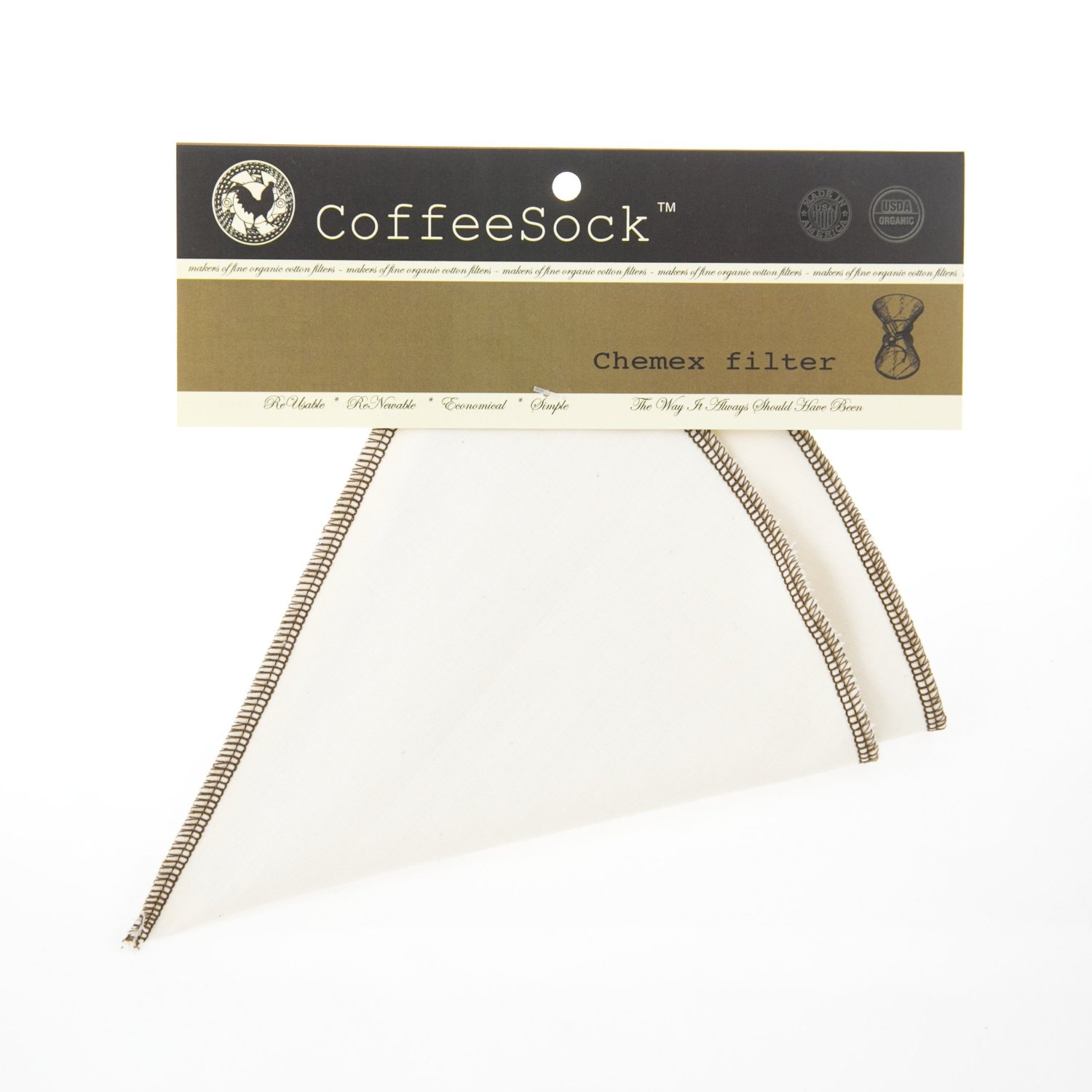 Coffeesock Resuable Filters for Chemex 3-cup - Certified Organic Cotton