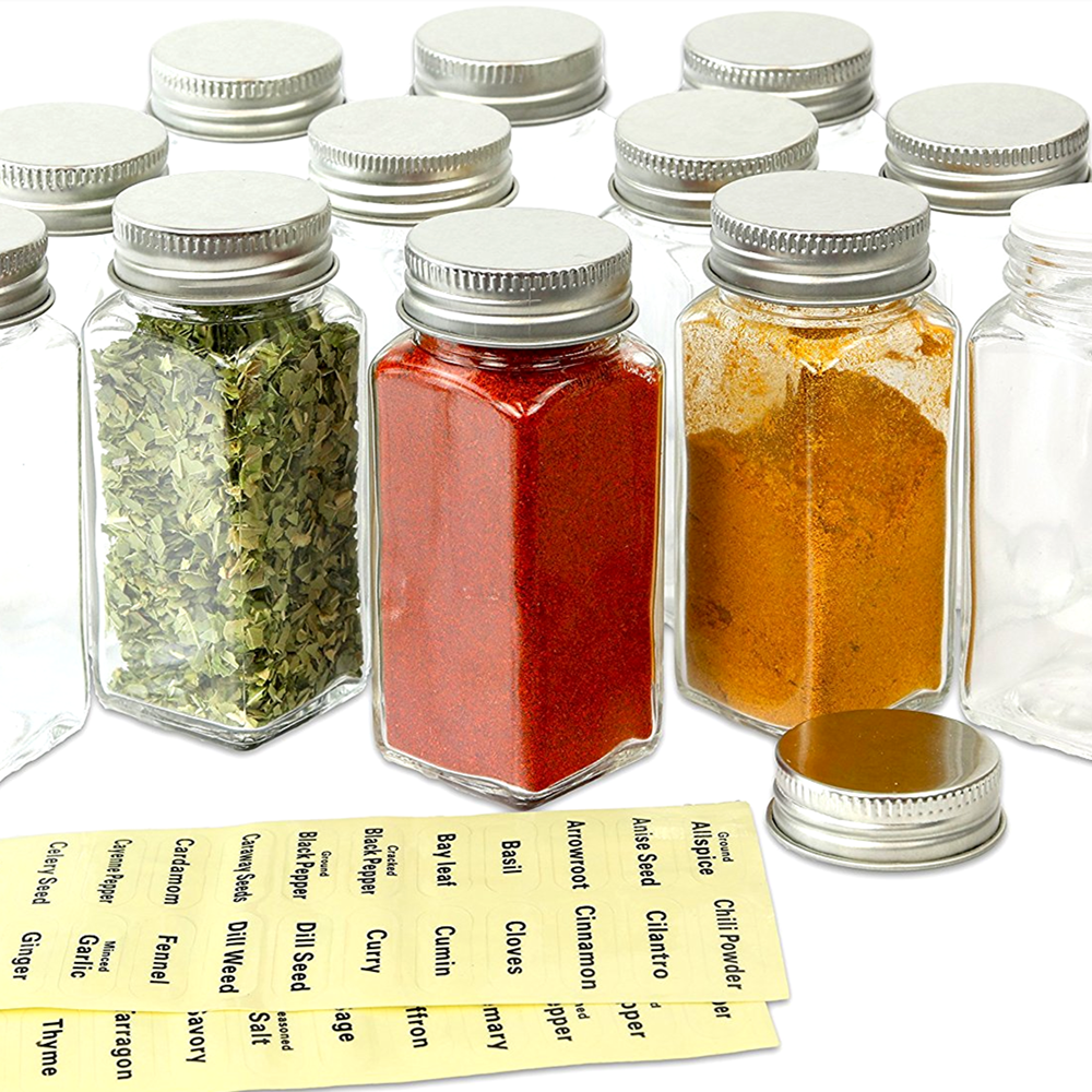 12 Pcs French Square Glass Spice Bottles 120ml 4 oz Spice Jars with Silver Metal Lid