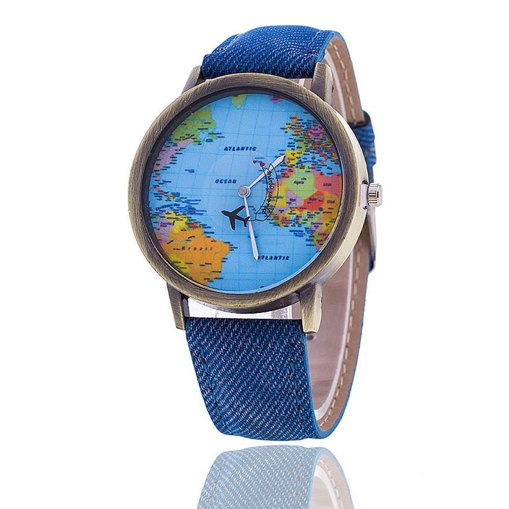 <strong>Hot</strong> selling models casual denim aircraft pointer world map men women belt quartz watch