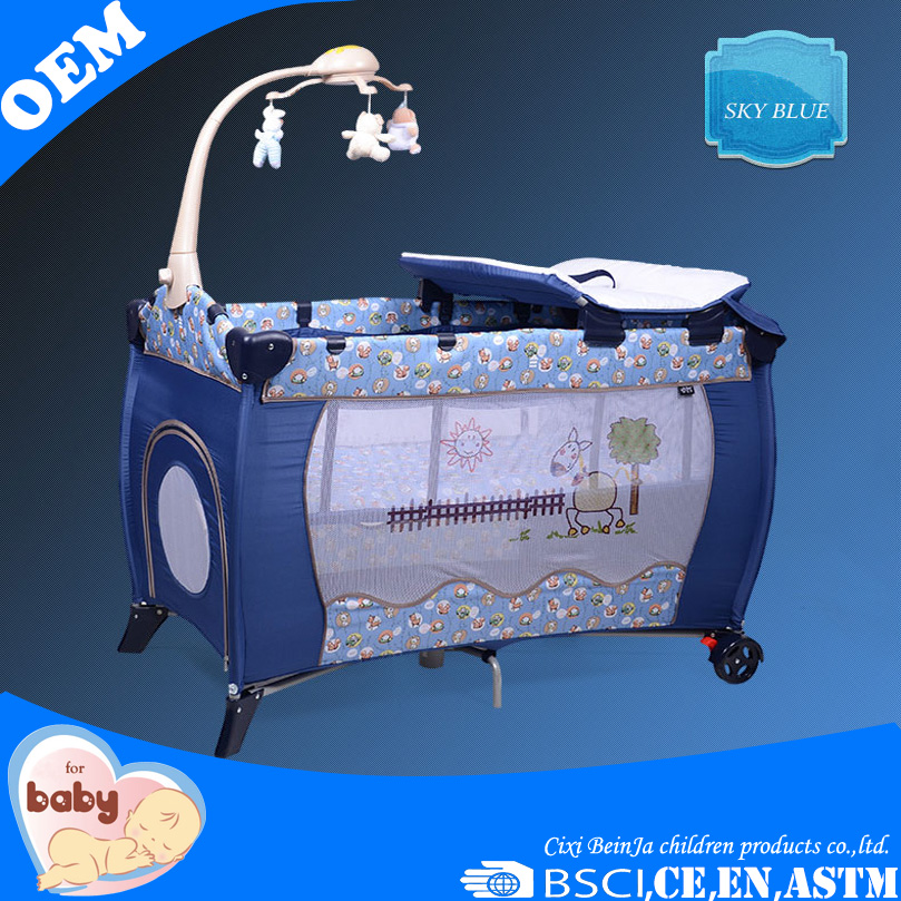 Aluminium baby playpen/portable baby travel cot/baby cot bed with EN716 certificate