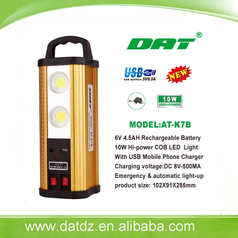 New model AT-K7B 10W rechargeable led emergency light with mobile charger