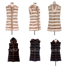 QD30460 Woman Knitted Mink Fur Vest Twist Fur Trim Style Gilet