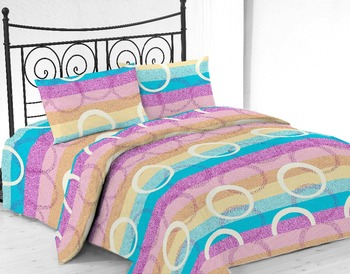Ready Made Microfiber Printed Bed Sheet Set With Stripe Circle Design