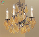 MINI ANTIQUE BRASS CHAMPAGNE & CRYSTALS HANGING PENDANT CEILING LIGHT CHANDELIER