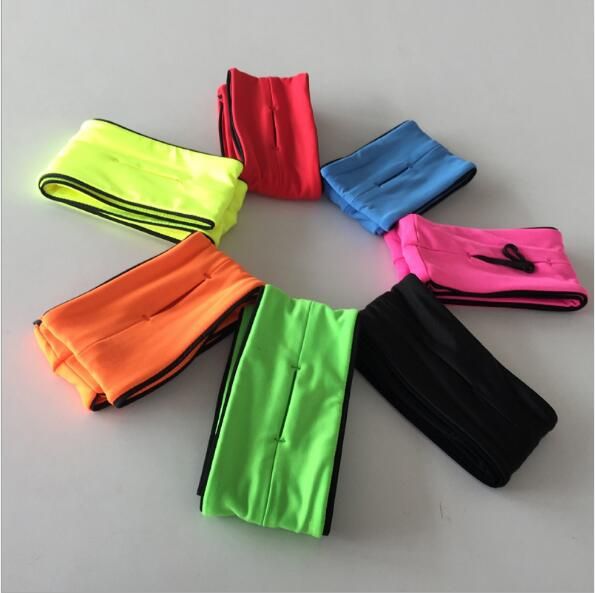 Plain color or custom high quality elastic spandex running waist fitness light belt with your logo