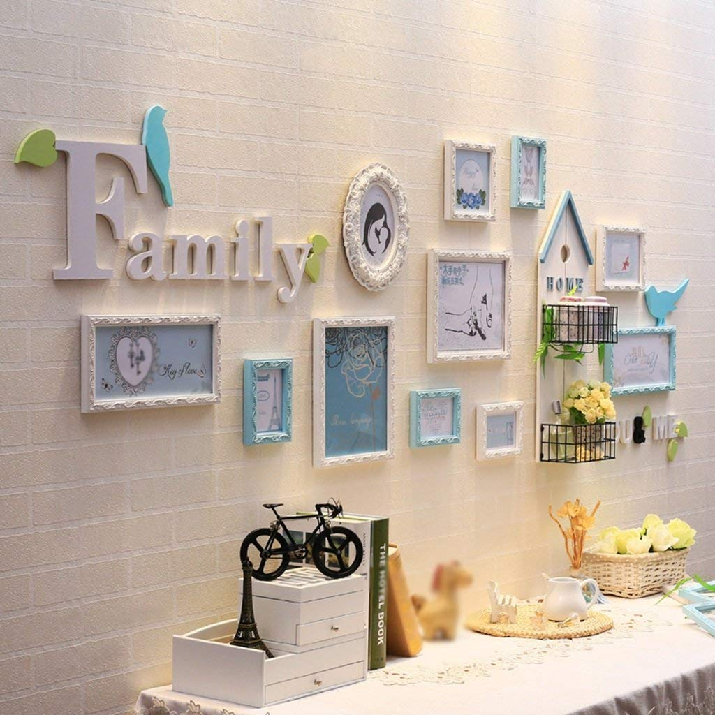 Frame Modern Simple Photo Wall Solid Wood Photo Frame Living Room Children Room Creative Combination Of Objects Home Decoration ( Color : Blue )
