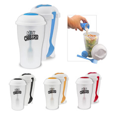PP plastic frosted clear body white color lid build-in sauce pot side button up fork 3-in-1 combination Salad shake cereal cup