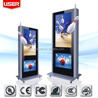 "High quality factory supply 65"" Floor Standing dual screen lcd advertising display/lcd digital signage"