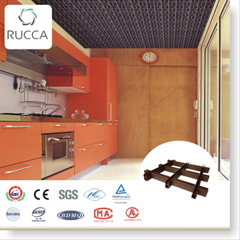 WPC Plastic Composite Artistic Grid Ceiling Tiles, Pop False Ceiling For  Modern Kitchen Design Guangdong
