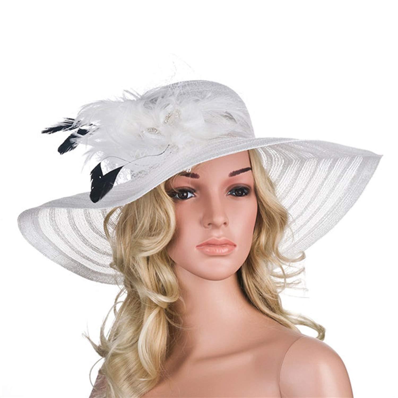 353d318f71041 Get Quotations · SYBKNSTW Women Dress Hats Church Wedding Derby Wide Brim  Feather Veil Sun Hat Female Floppy Hats