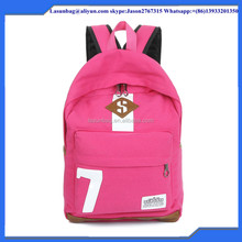 High Capacity and Day Backpack Use NO 7 pink canvas school backpack